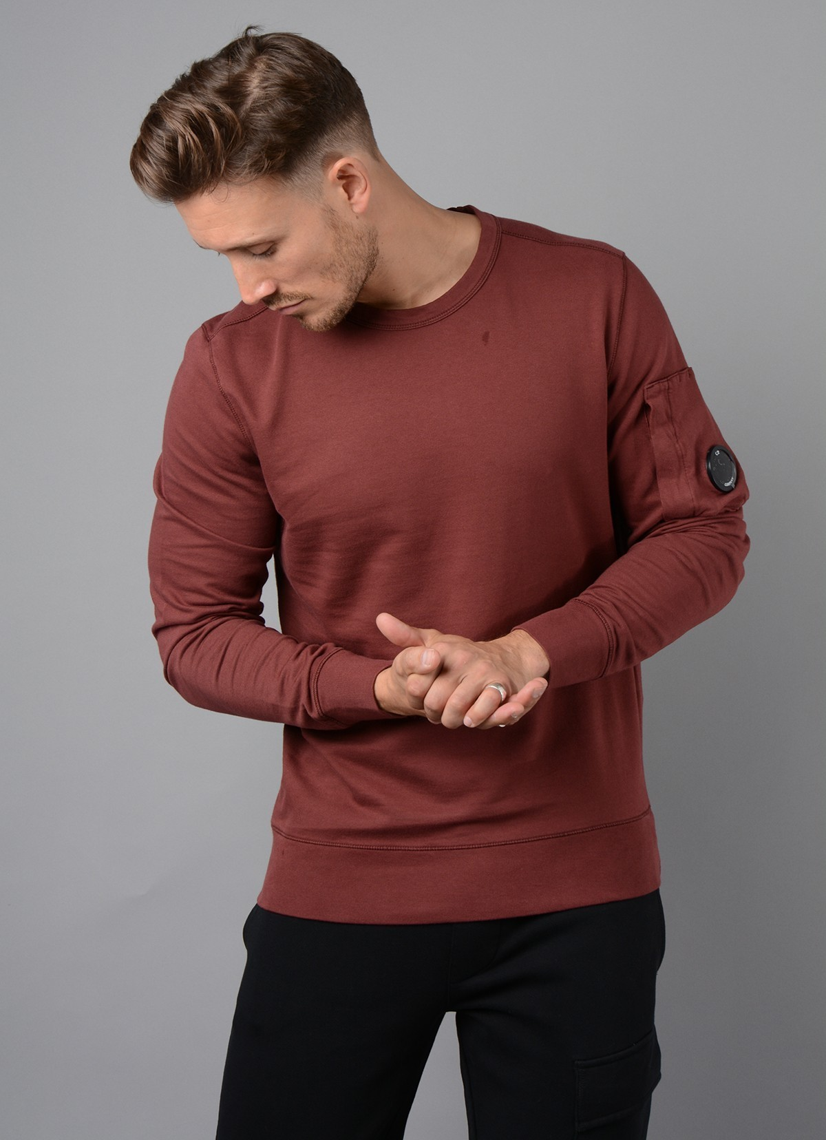 036A Garment Dyed Light Fleece Lens Sweatshirt in Burgundy