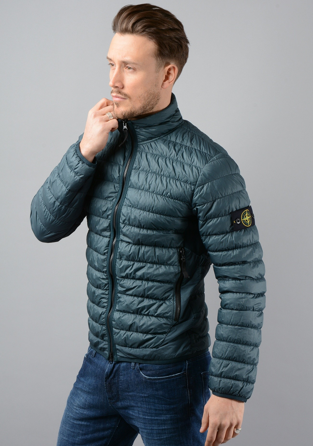 40324 Garment Dyed Micro Yarn Down Packable Jacket in Green