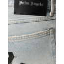 Black Printed Logo Jean in Wash Blue
