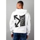 Diag Splited Hoodie In White