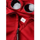 07CMSS003A Diagonal Raised Fleece Goggle Hoodie in Red