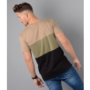 M01TS08 Triple T-Shirt in Black & Beige
