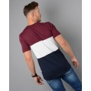 M01TS09 Triple T-Shirt in Burgundy & Navy