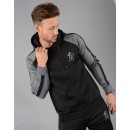 Reflective Lester Poly Tracksuit Top in Black/Dark Grey