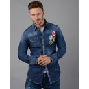 S74DM0030 Patch Denim Shirt in Blue
