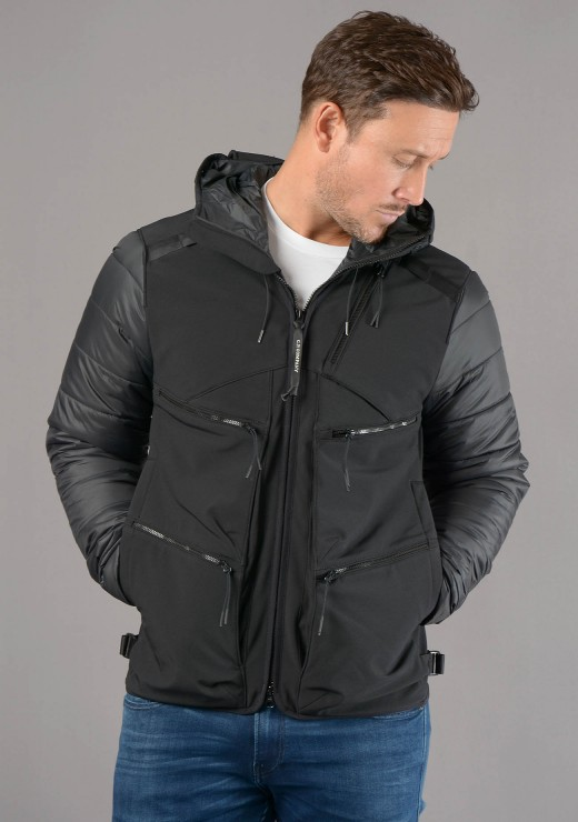 C.P. COMPANY - 106A R Mixed Jacket in Black