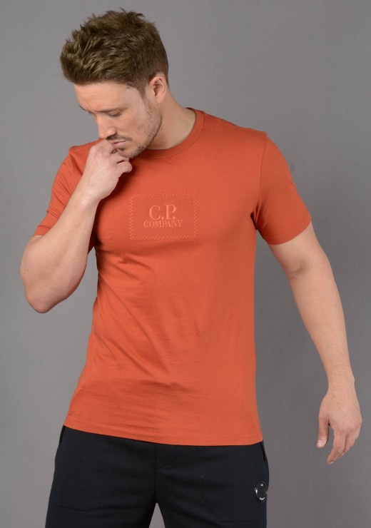 C.P. COMPANY - 180A Box Logo T-Shirt in Orange