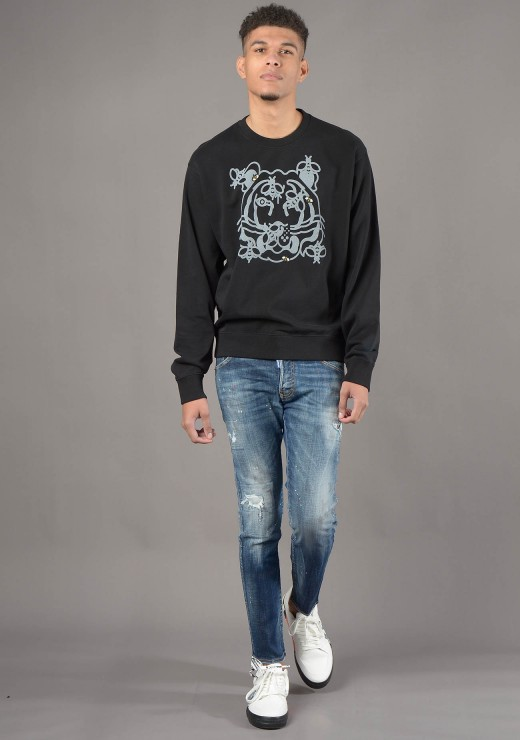 KENZO - 5SW018 Bee A Tiger Classic Sweatshirt in Black