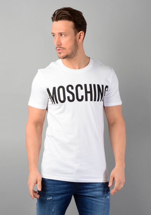 Moschino 0705 T-Shirt With Logo Print in White