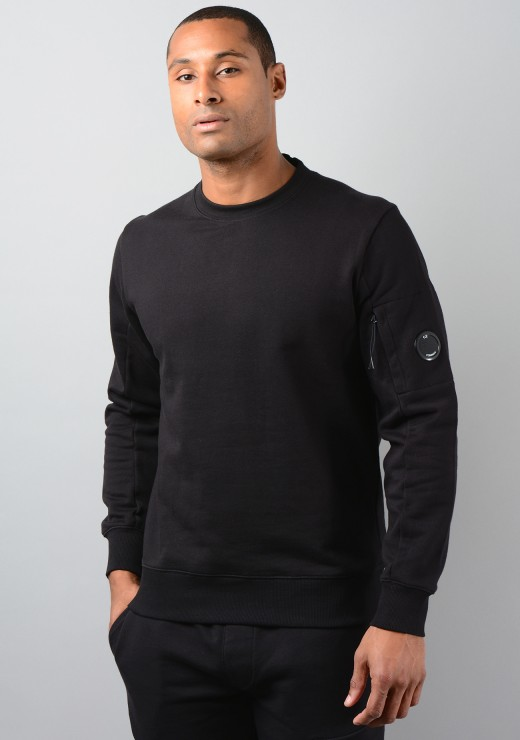 07CMSS082A Diagonal Raised Fleece Sweatshirt in Black