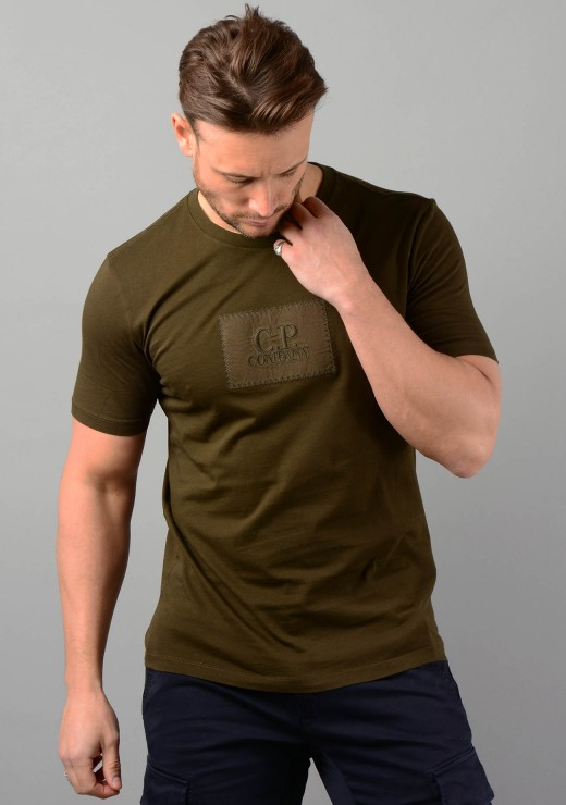 08CMTS141A Label Logo T-Shirt in Khaki
