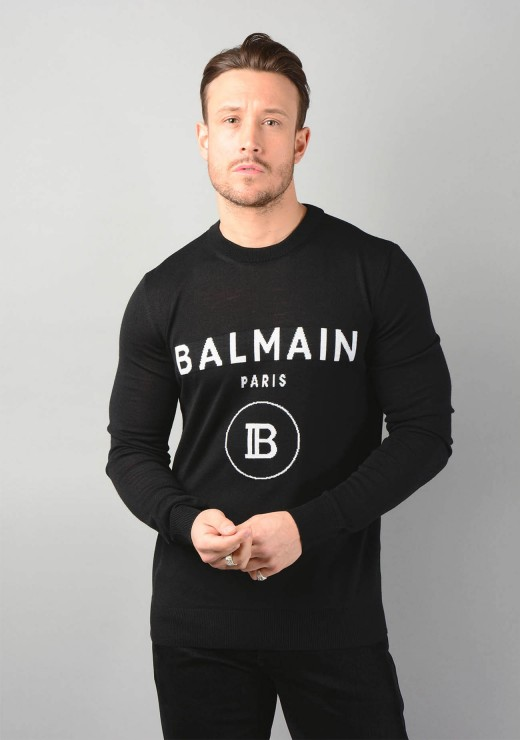 Block Logo Knitwear Jumper in Black